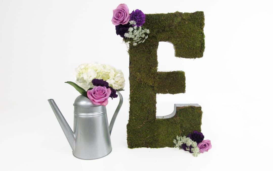 DIY Moss Letter Tutorial featured on Emmaline Bride