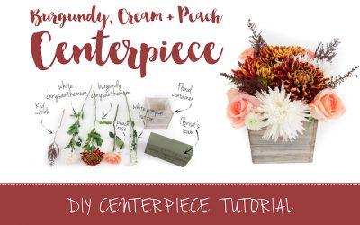 Burgundy and Cream DIY Wedding Centerpiece Tutorial featured on Confetti Daydreams