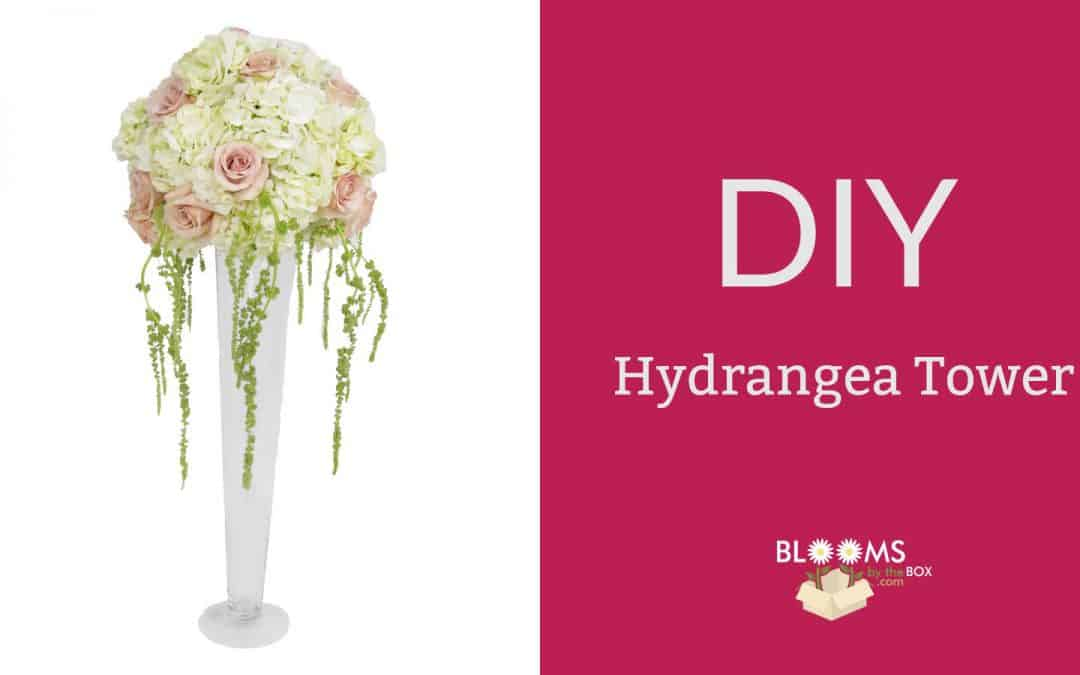 DIY Hydrangea Tower Centerpiece