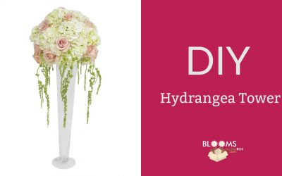 DIY Hydrangea Tower Centerpiece