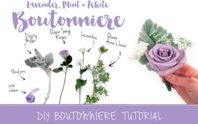Sweet + Simple Lavender Mint & White DIY Boutonniere Tutorial featured on Confetti Daydreams