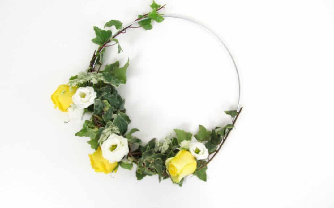 DIY Floral Hoop Tutorial featured on Emmaline Bride