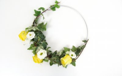 DIY Floral Hoop Tutorial featured on Emmaline Bride