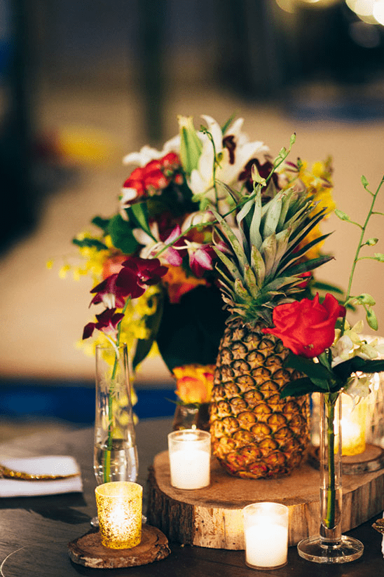 incorporate tropical florals and greens