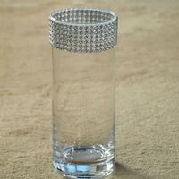 8 Inch H X 4 Inch Clear Glass Cylinder W/ Diamond Accented Rim