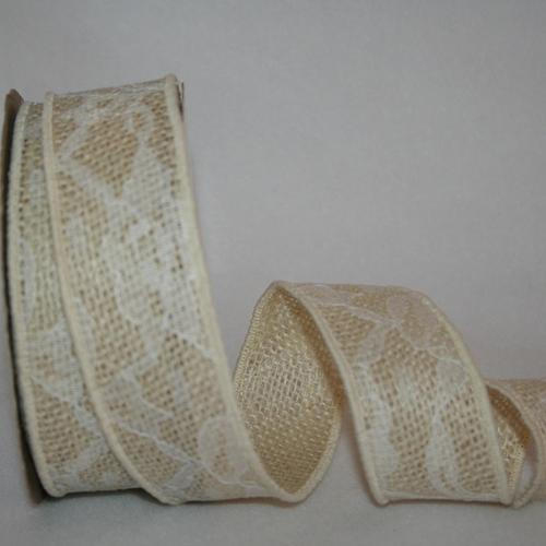1 3/8 inch Ivory Lace Burlap 10 Yards