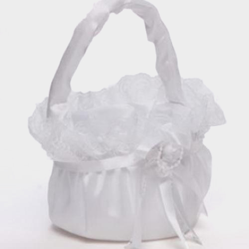 Merry Basket W/ Lace & Rose White