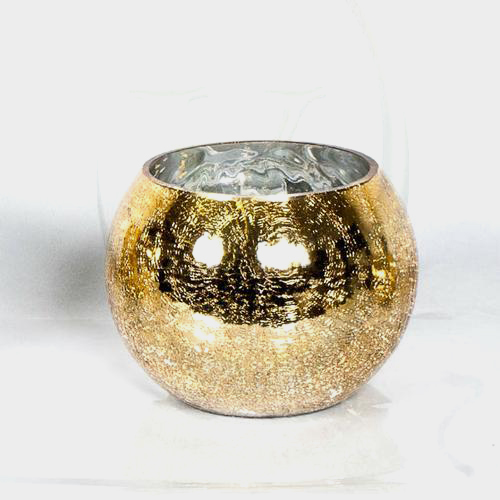 10 Inch Cracked Gold Glass Bubble Bowl