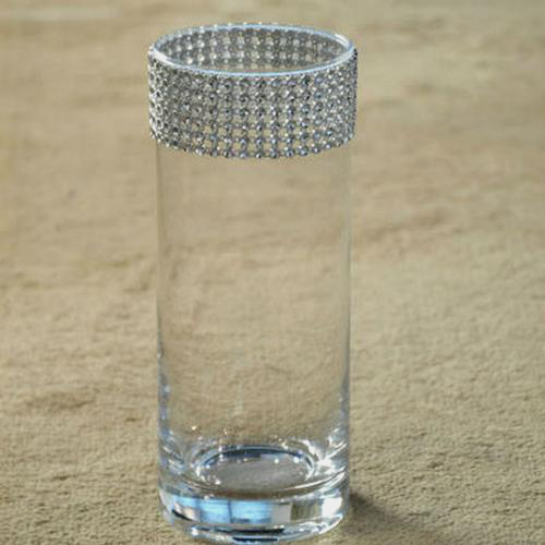 6 Inch H X 4 Inch Clear Glass Cylinder W/ Diamond Accented Rim