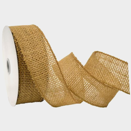 Natural Burlap Wired Ribbon  10 yd (1 1/2